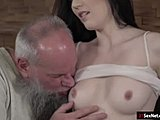 High definition, Small tits, Grandfather, Brunette, Lick, Fucking, Tits, Blowjob, Old, Young