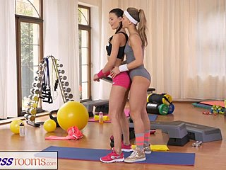 Lesbian sex work out room