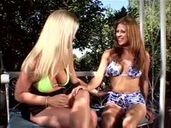 Mature, 3 some, Fucking, Brunette, Big tits, Sex, Blonde, Boobs, Titty fuck, Garden, Facial, Blowjob, Bent over, Doggystyle, Tits, Group, Jumping tits