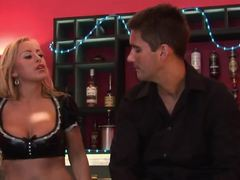 Amazing couples have some wild action in a bar