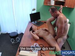 Orgasm, European, Desk, Doctor, Hospital, Patient, Petite, Pussy