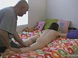 Dad and girl, Teen, Old, Perfect body, Massage, High definition